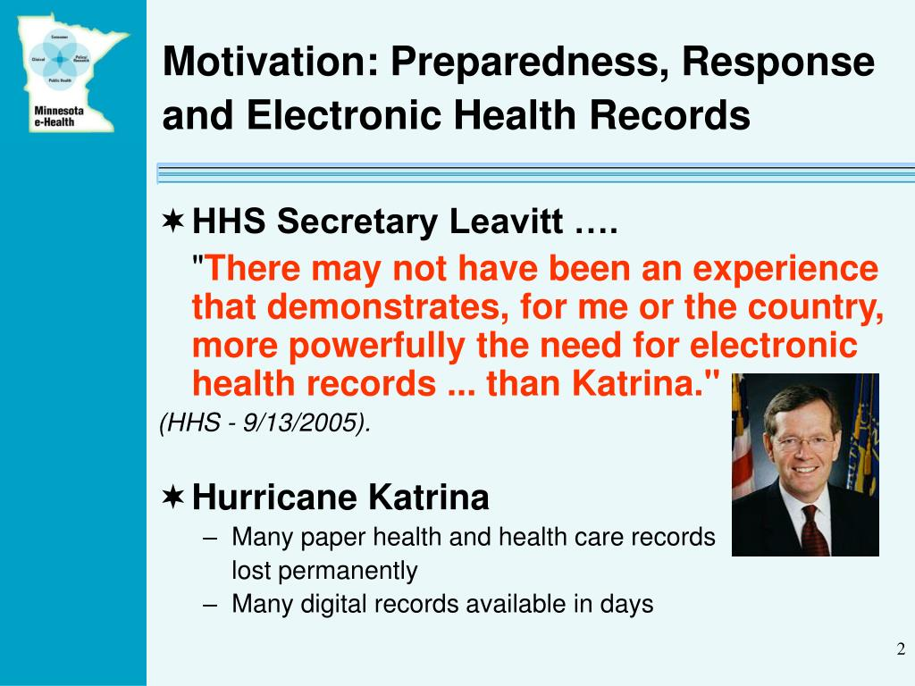 Motivation: Preparedness, Response and Electronic Health Records