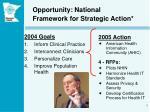 opportunity national framework for strategic action