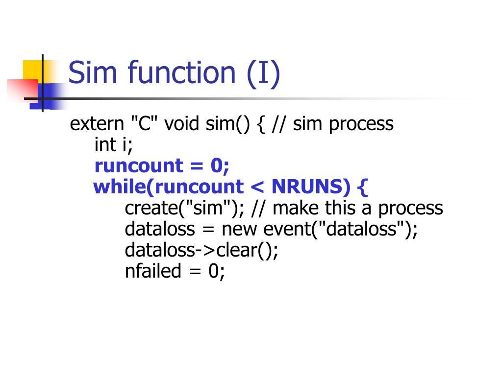 Sim function (I)