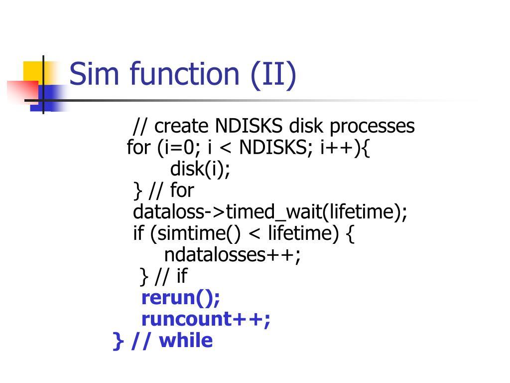 Sim function (II)