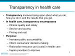 transparency in health care