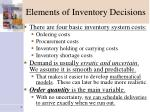 elements of inventory decisions