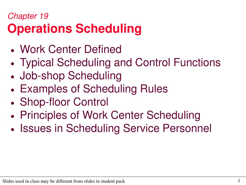 PPT - Chapter 19 Operations Scheduling PowerPoint Presentation - ID