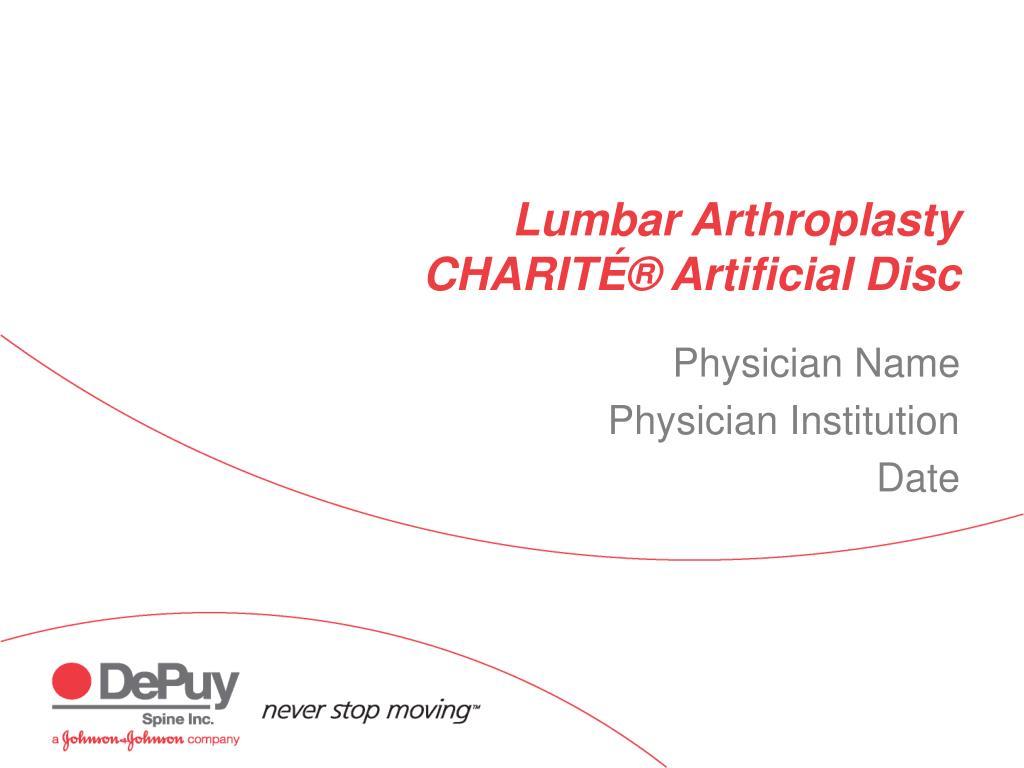 lumbar arthroplasty charit artificial disc l.