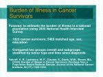 burden of illness in cancer survivors