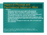 impact of physical and psychosocial factors on work24
