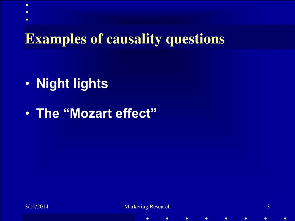 Examples of causality questions