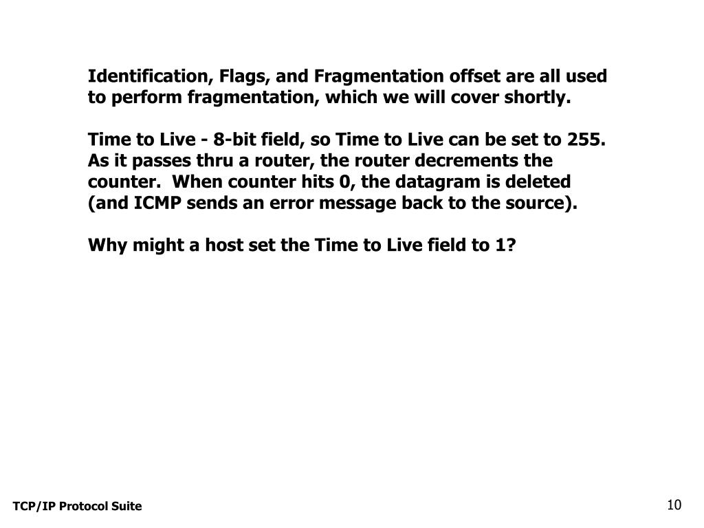 Identification, Flags, and Fragmentation offset are all used