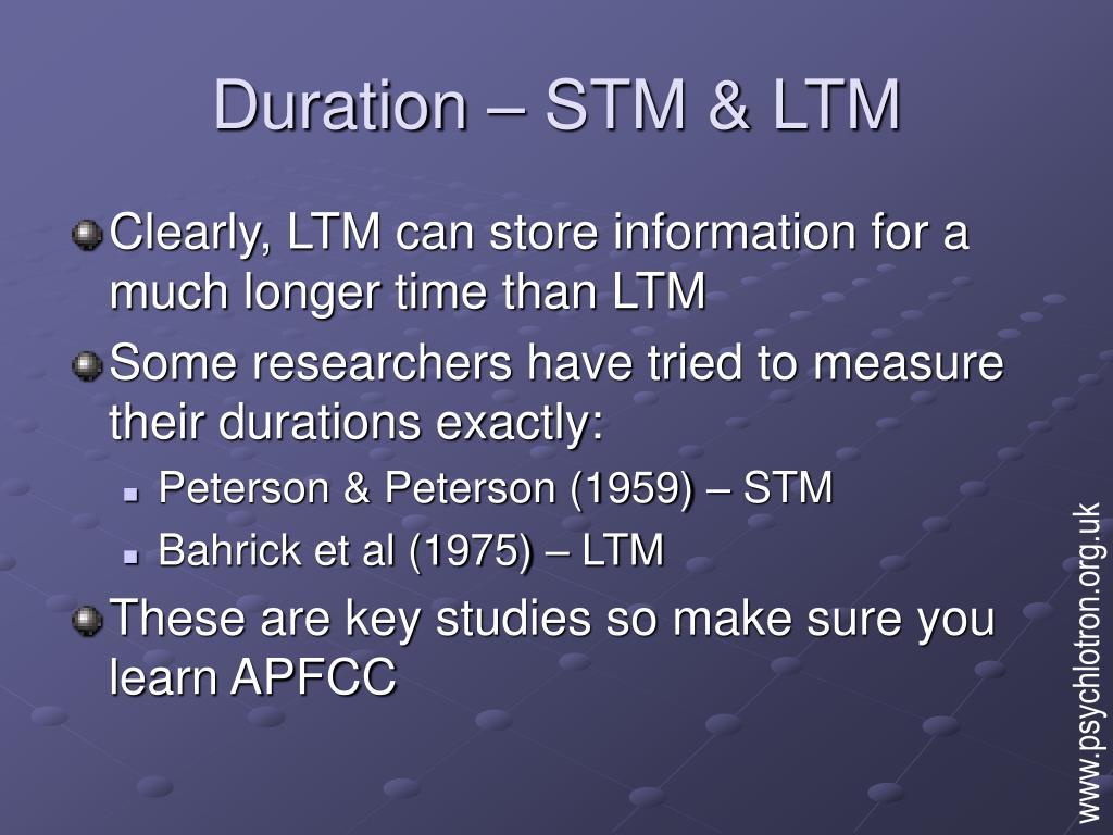 duration stm ltm l.