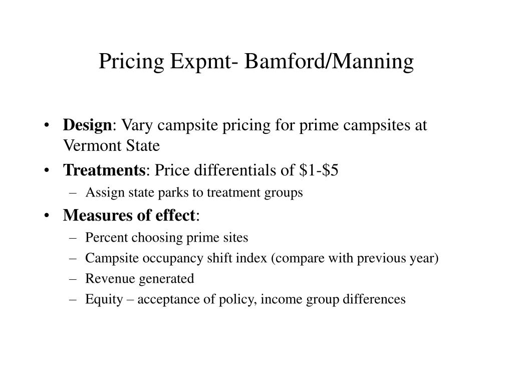Pricing Expmt- Bamford/Manning
