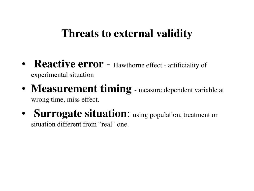 Threats to external validity