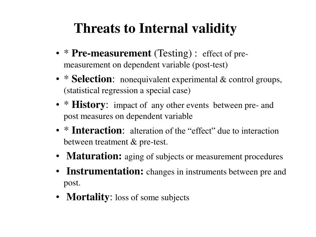 Threats to Internal validity