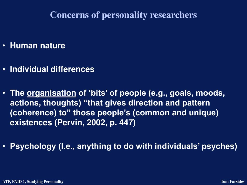 Concerns of personality researchers