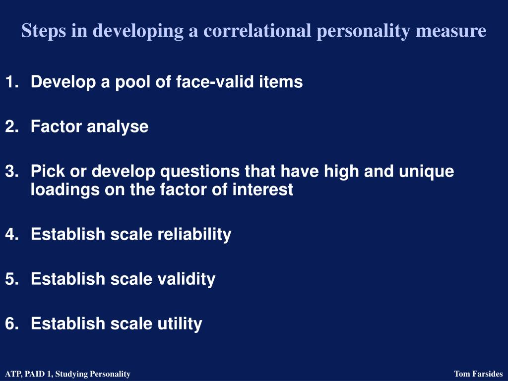 Steps in developing a correlational personality measure