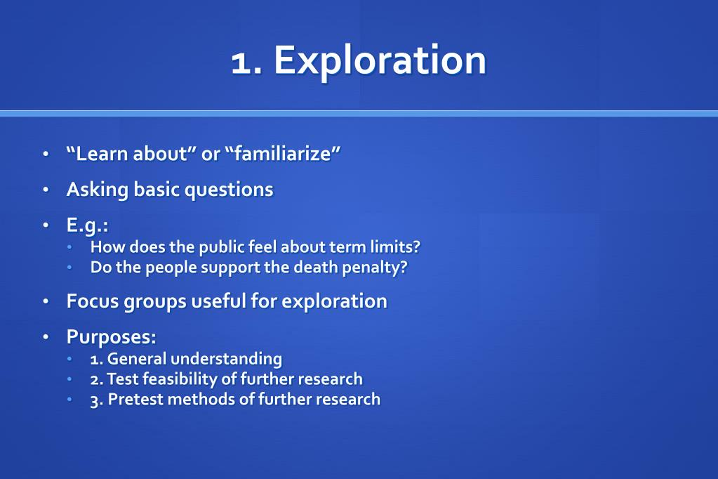 1. Exploration