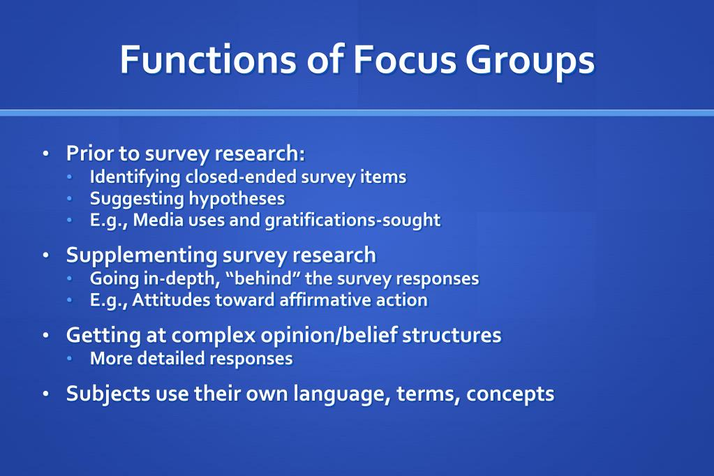 Functions of Focus Groups