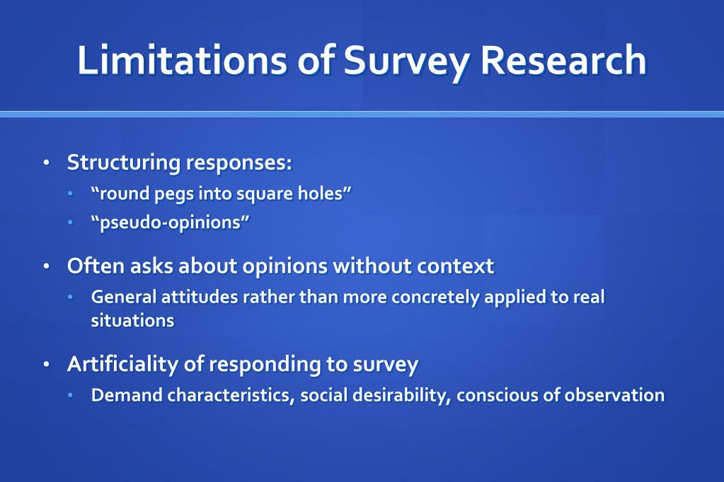 Limitations of Survey Research