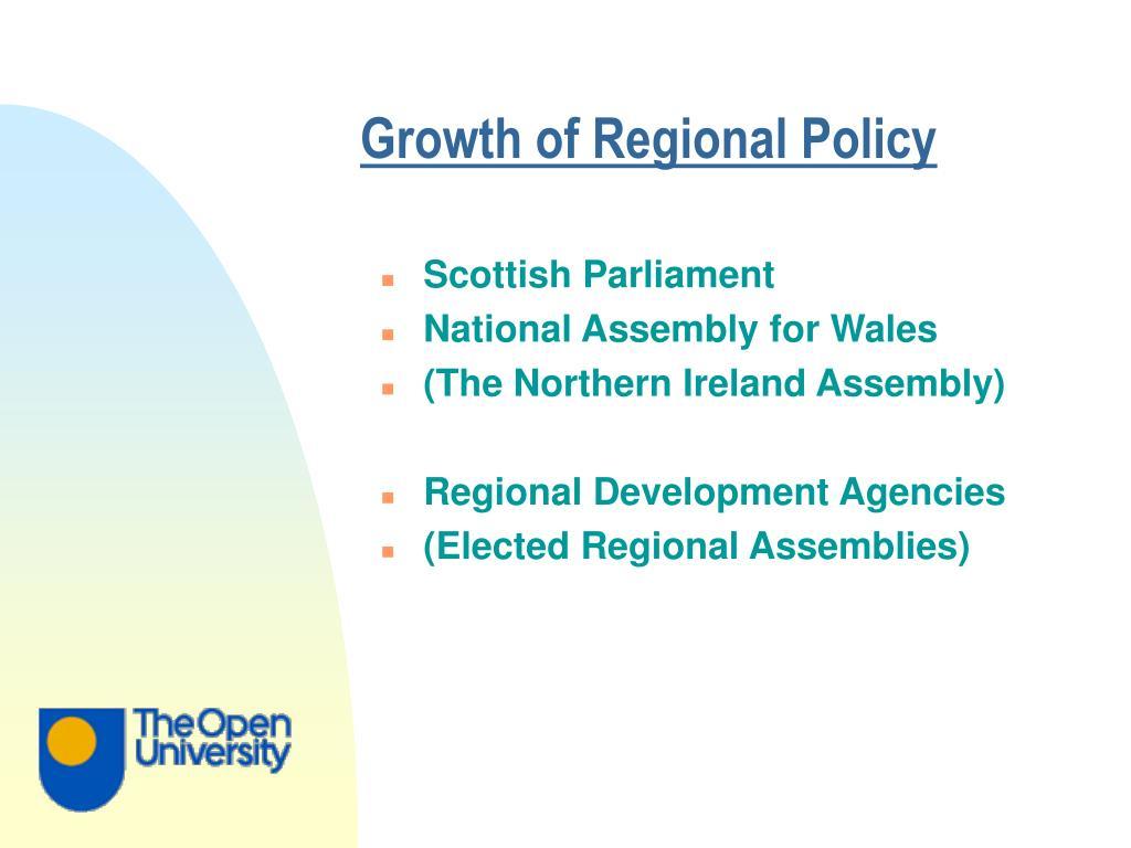 Growth of Regional Policy