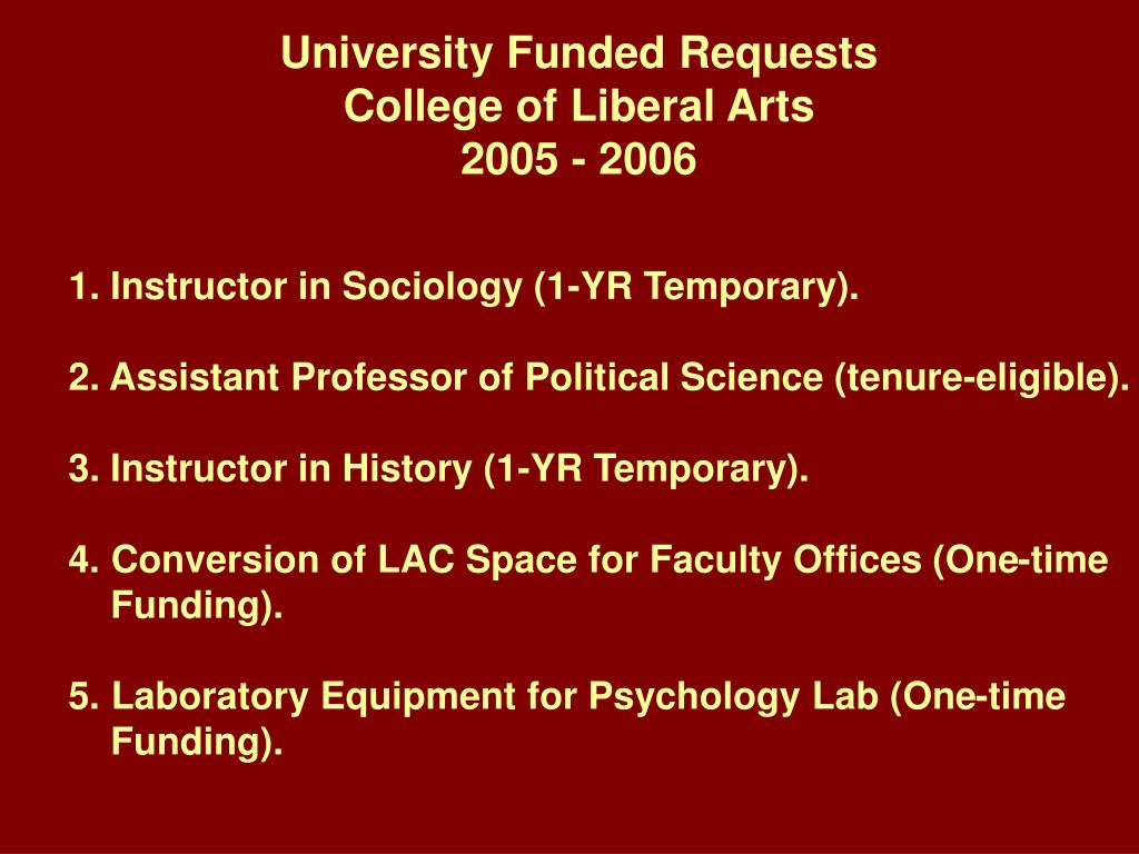 University Funded Requests
