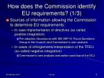 how does the commission identify eu requirements 1 3
