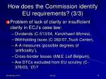 how does the commission identify eu requirements 3 3