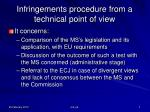 infringements procedure from a technical point of view