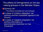 the effects of infringements on the law making process in the member states