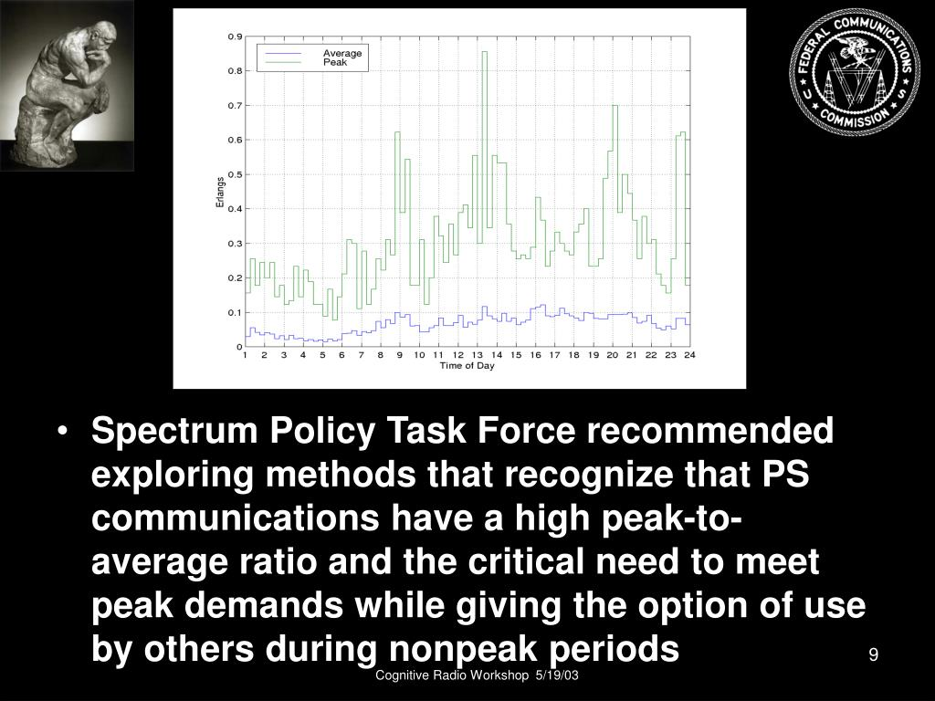 Spectrum Policy Task Force recommended exploring methods that recognize that PS communications have a high peak-to-average ratio and the critical need to meet peak demands while giving the option of use by others during nonpeak periods