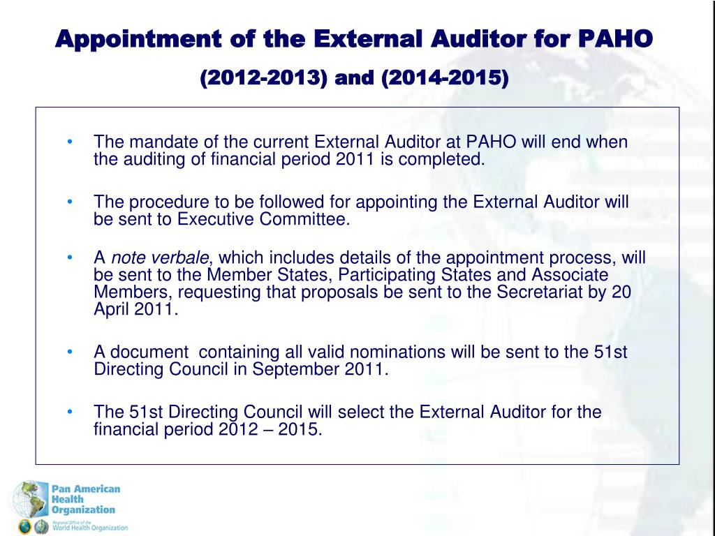 Appointment of the External Auditor for PAHO