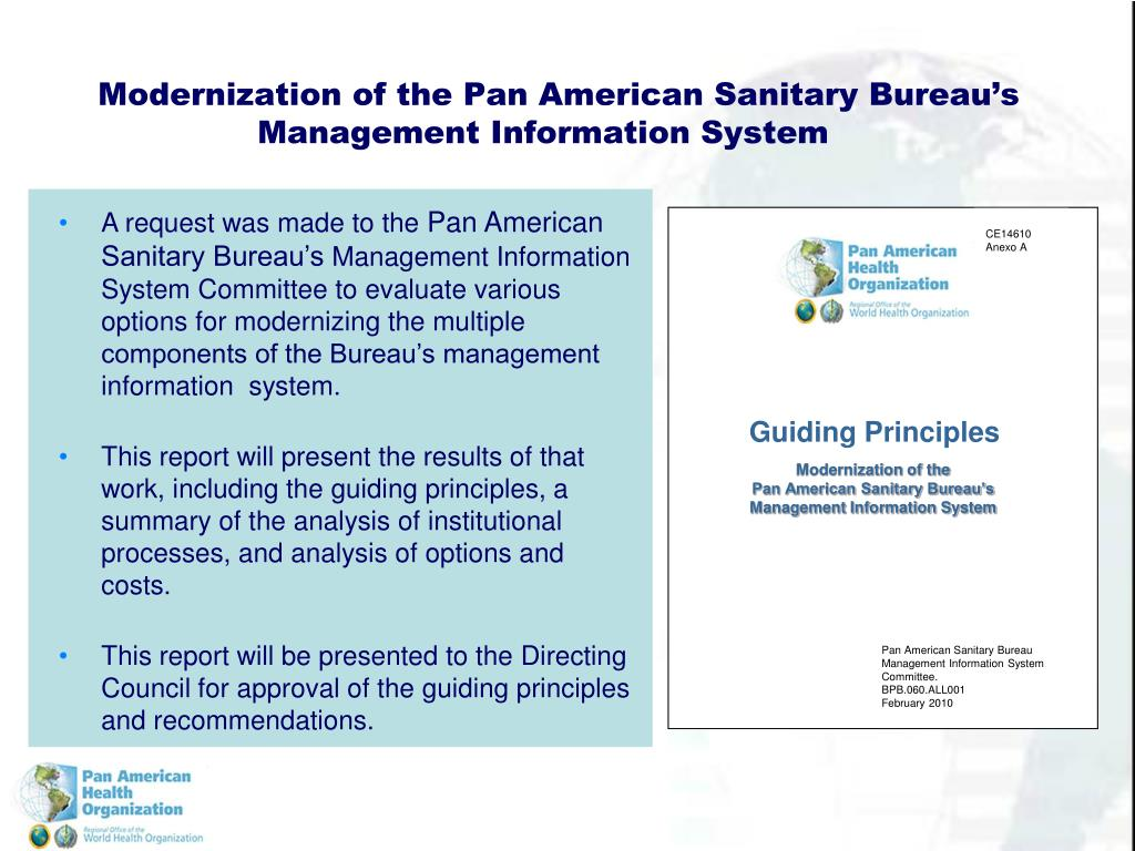 Modernization of the Pan American Sanitary Bureau's Management Information System