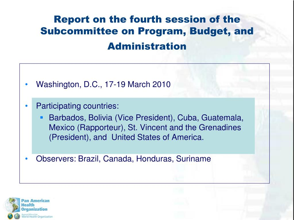 Report on the fourth session of the Subcommittee on Program, Budget, and Administration