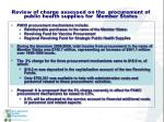 review of charge assessed on the procurement of public health supplies for member states