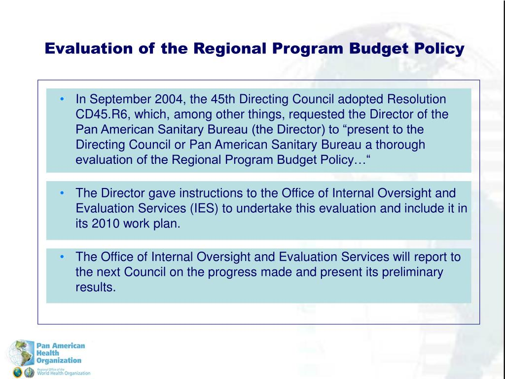 Evaluation of the Regional Program Budget Policy