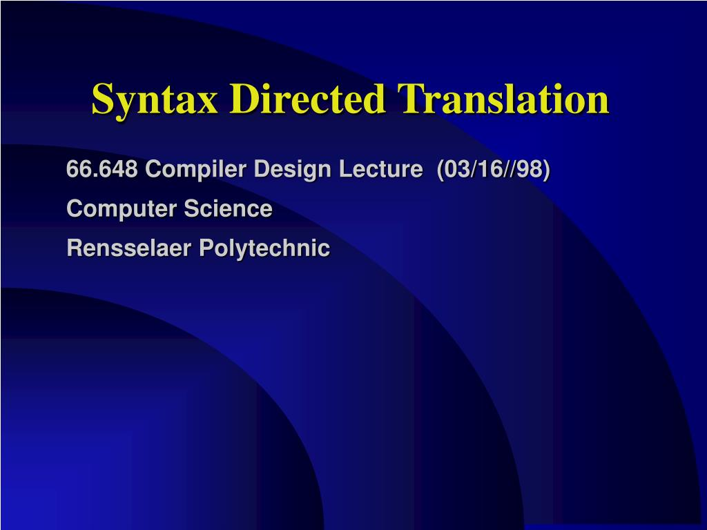 syntax directed translation l.