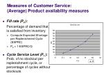 measures of customer service average product availability measures