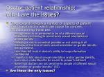 doctor patient relationship what are the issues