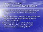 hiv and sti testing is there a national hiv aids policy