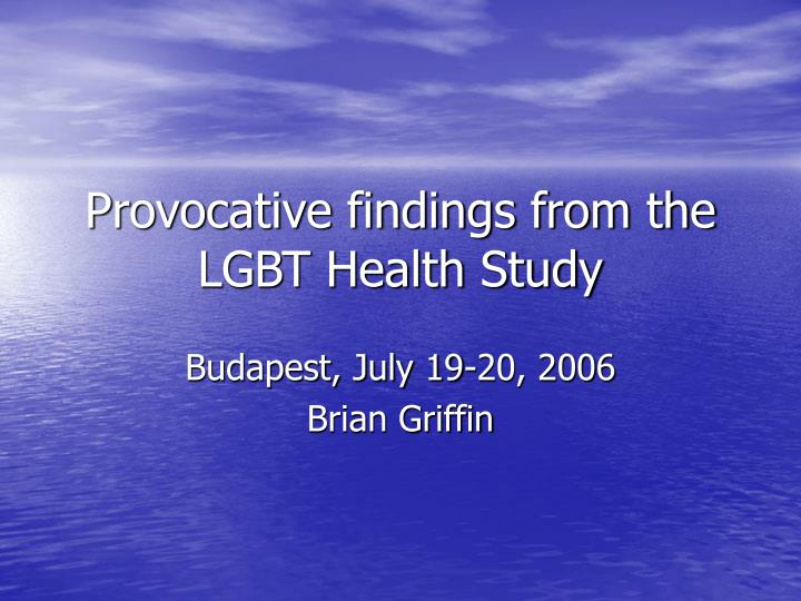 provocative findings from the lgbt health study n.