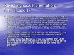 revealing sexual orientation why should i