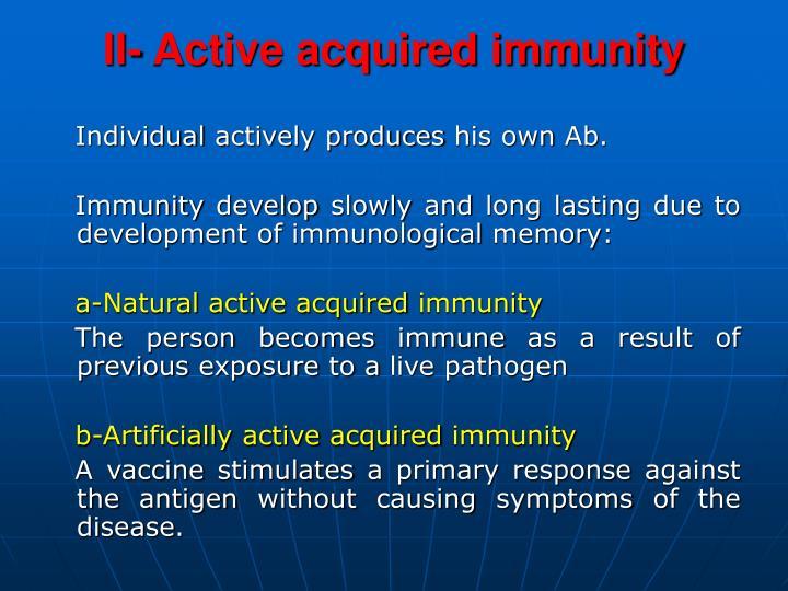 Ii active acquired immunity