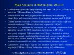 main activities of fbd program 2003 04