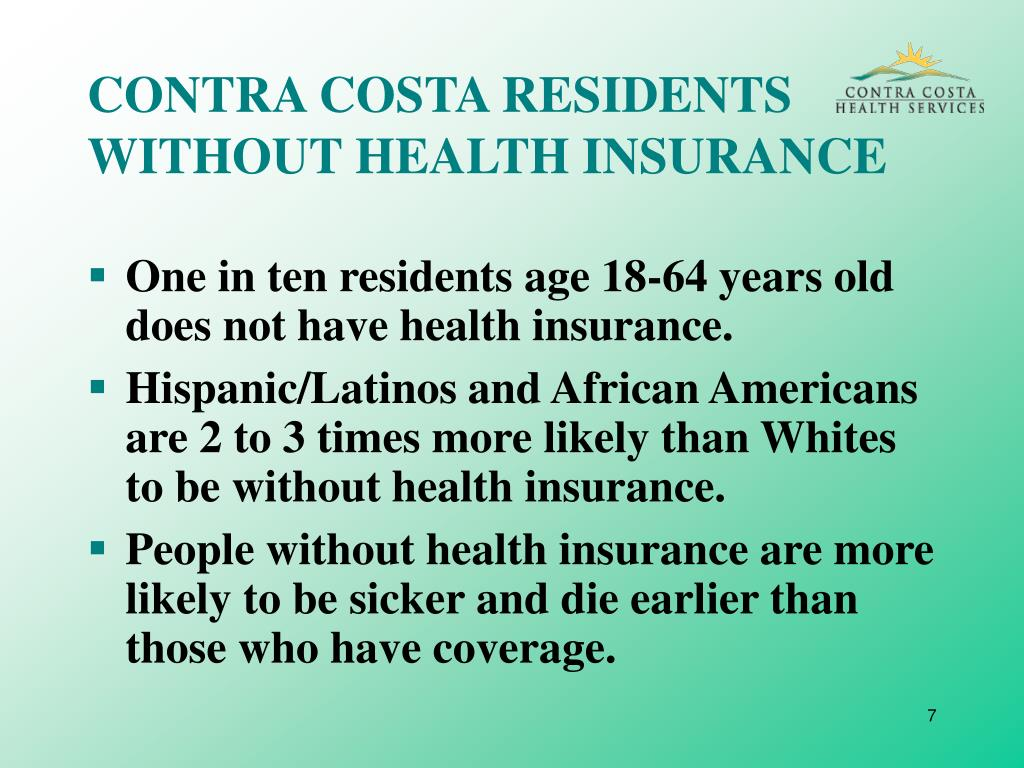 CONTRA COSTA RESIDENTS WITHOUT HEALTH INSURANCE