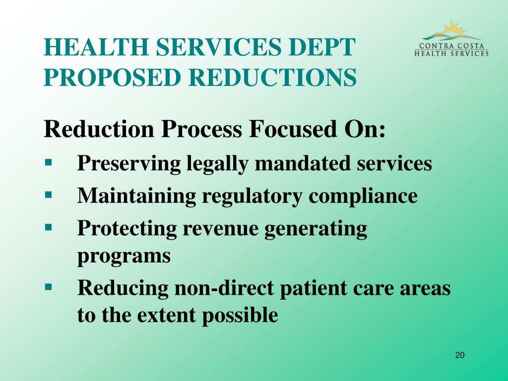 HEALTH SERVICES DEPT PROPOSED REDUCTIONS