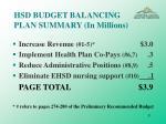 hsd budget balancing plan summary in millions