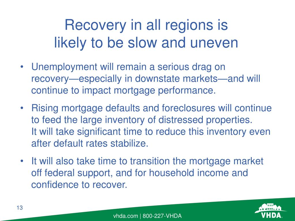 Unemployment will remain a serious drag on recovery—especially in downstate markets—and will continue to impact mortgage performance.