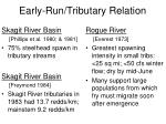 early run tributary relation