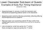 lower clearwater sub basin of queets examples of early run timing importance cederholm 1984