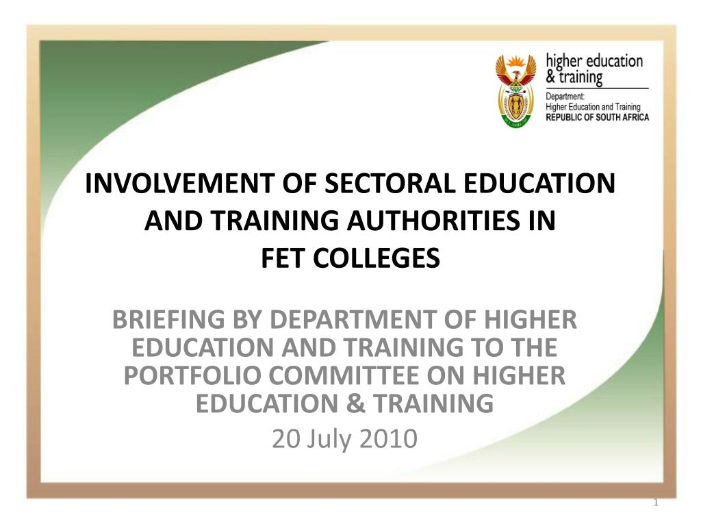involvement of sectoral education and training authorities in fet colleges l.