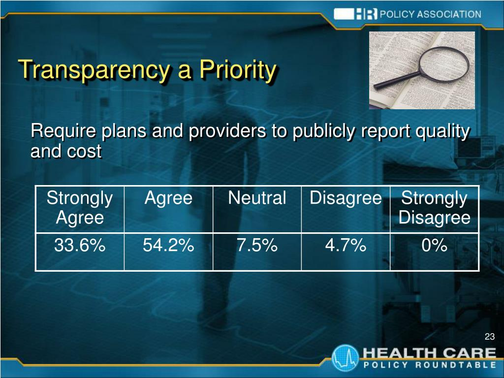 Transparency a Priority