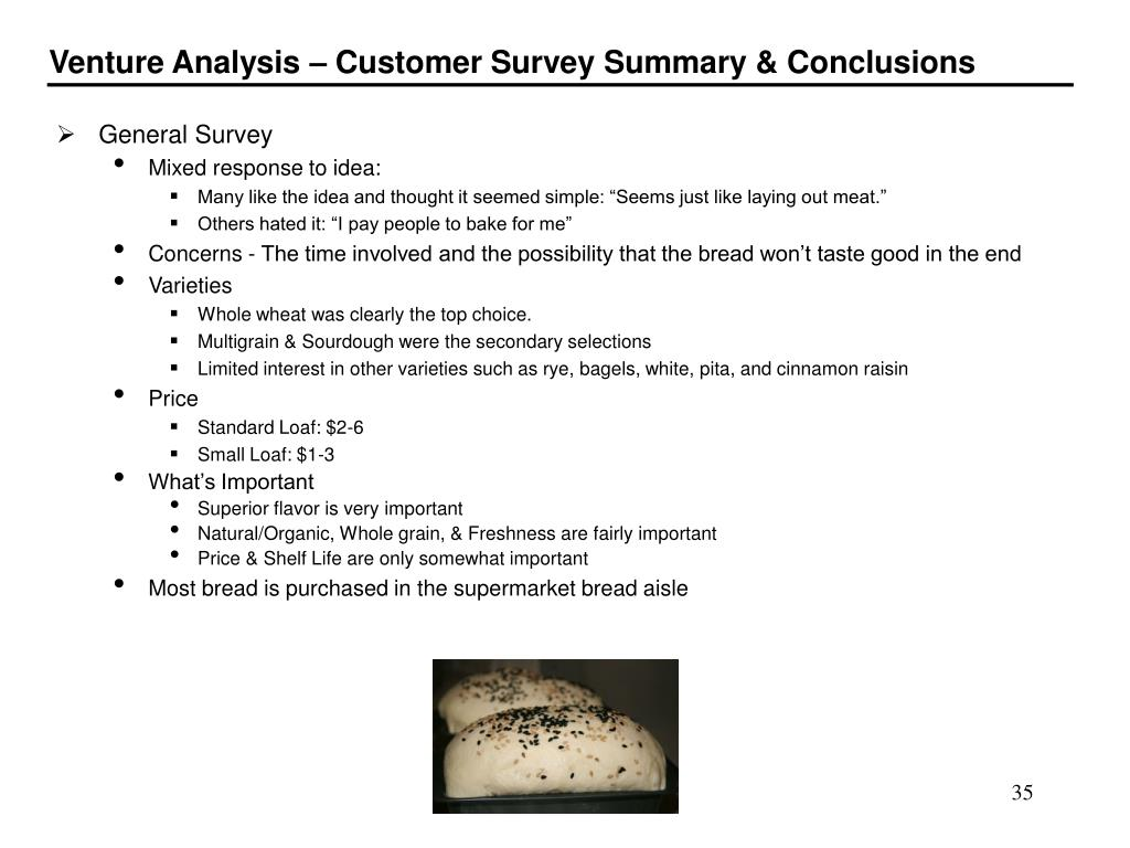 Venture Analysis – Customer Survey Summary & Conclusions